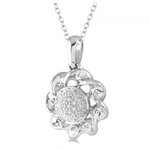 Sterling Silver Flower Pendant Necklace