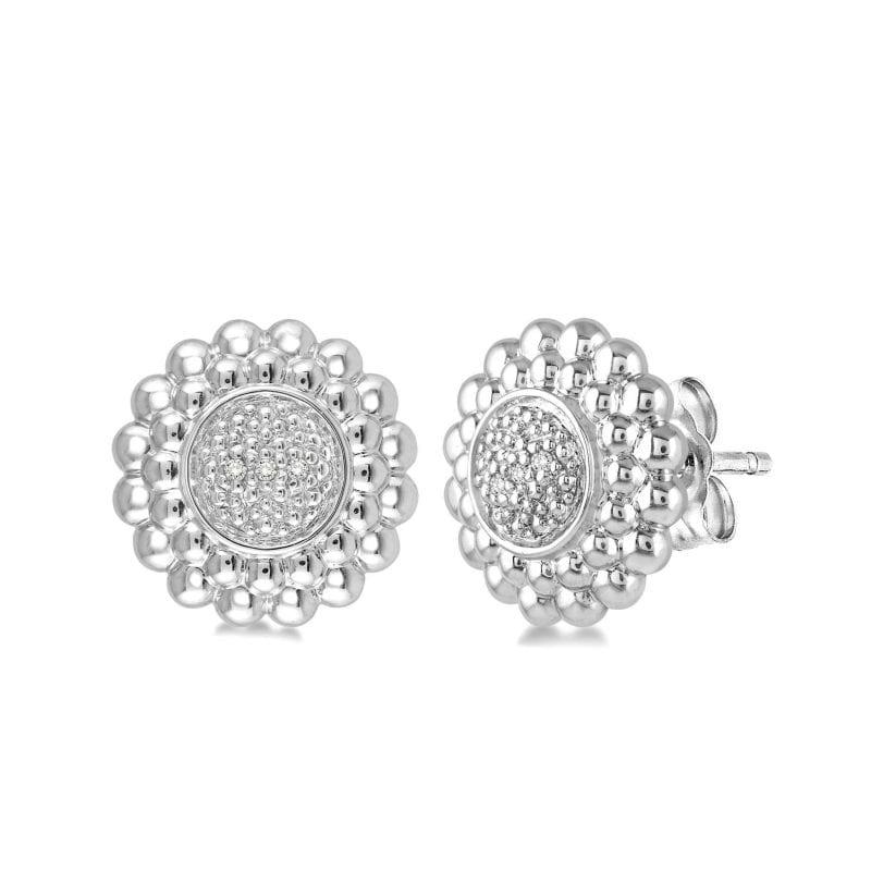 Round Pave Diamond Stud Earrings
