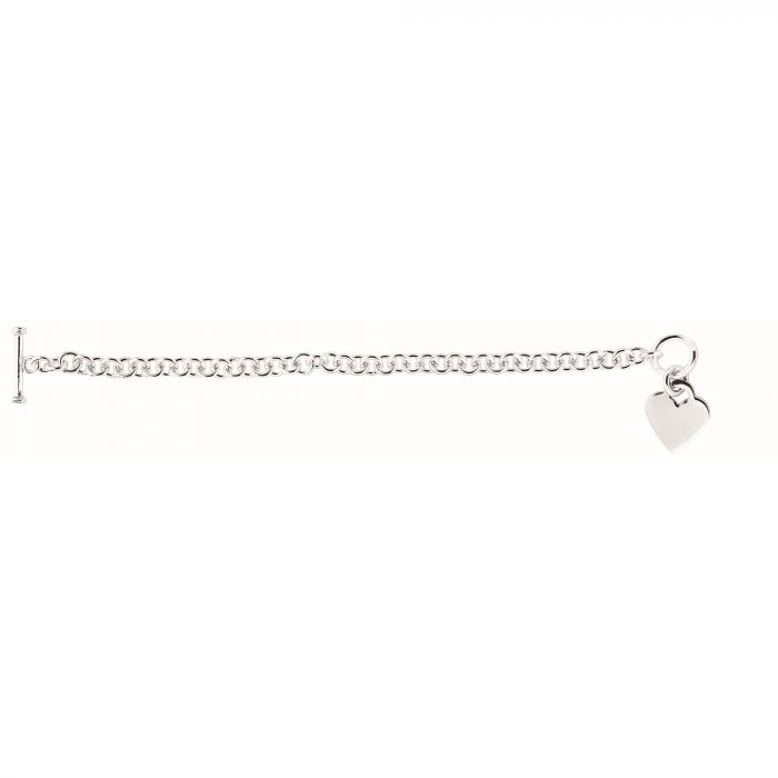 Sterling Silver Small Heart Toggle Chain Necklace