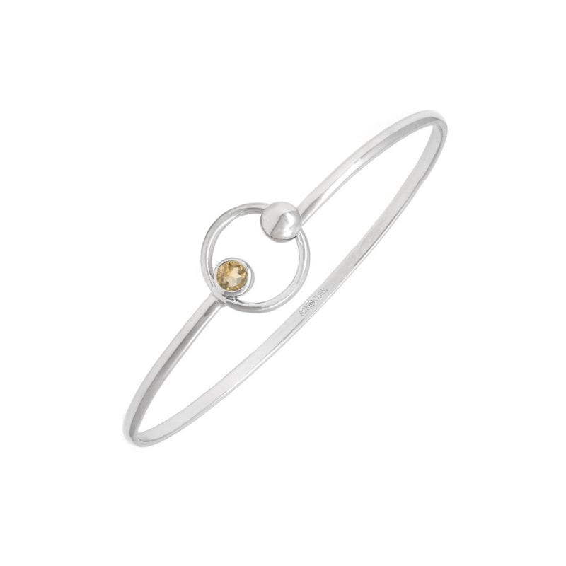 Sterling Silver Bangle with Citrine Stone