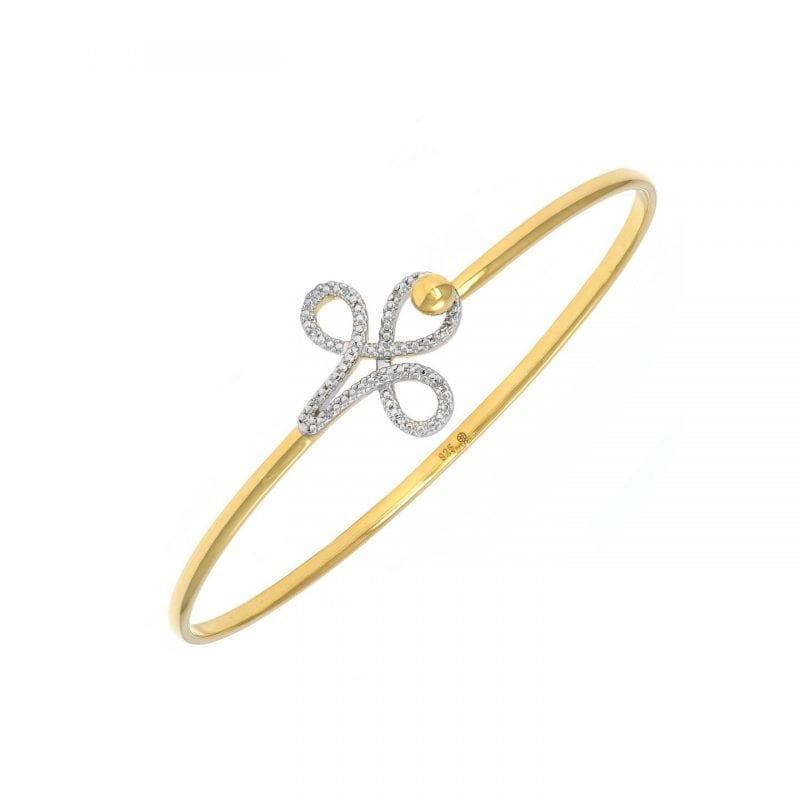 Flower Hinge Bangle with Micro-Pave Diamonds