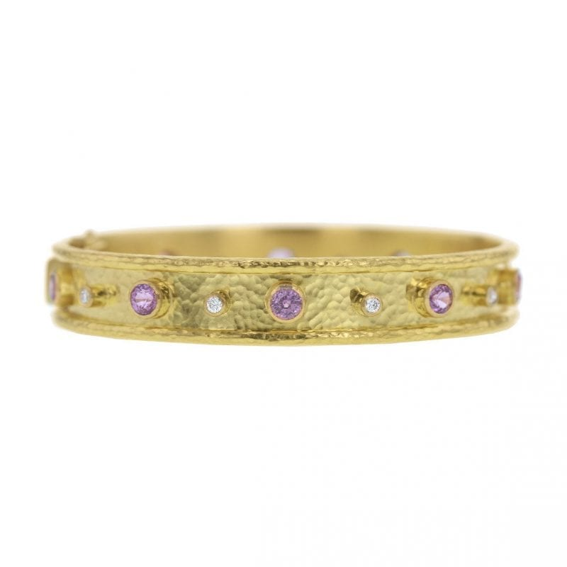 Elizabeth Locke Pink Sapphire and Diamond Bangle