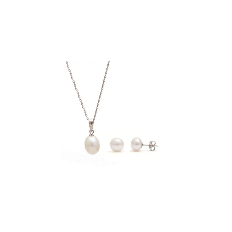 White Pearl Pendant and Earring Set
