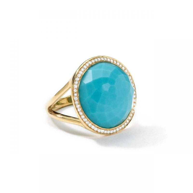 Ippolita Yellow Gold Lollipop Ring in Turquoise