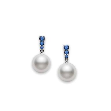 Mikimoto 8mm Akoya Pearl and Sapphire Drop Earring