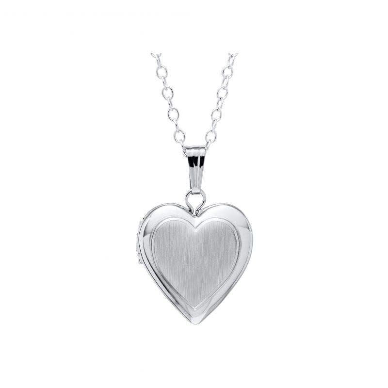 Sterling Silver Polished Heart Locket Necklace