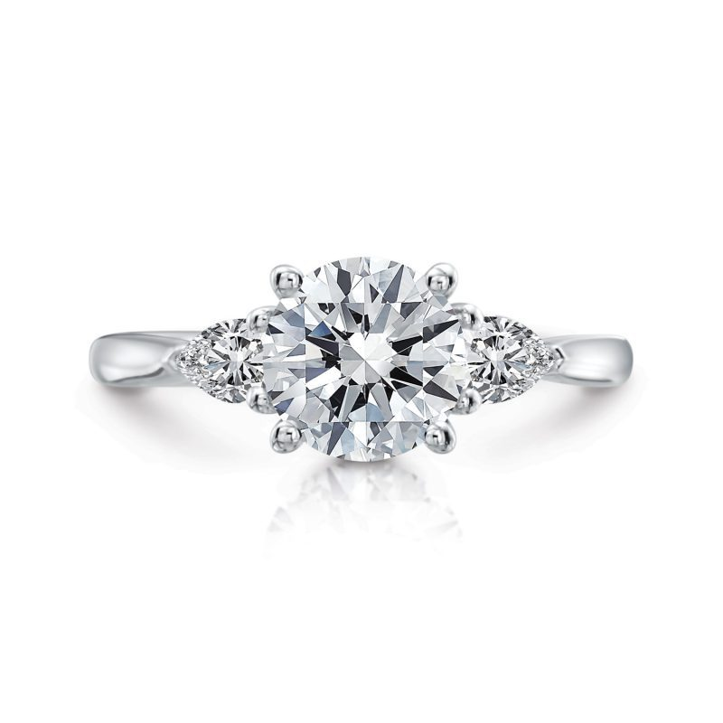 Elizabeth Round Three-Stone with Pears Engagement Ring