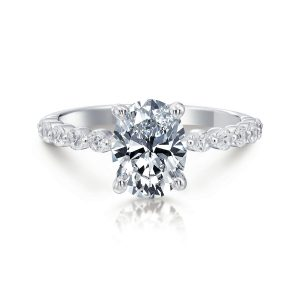 June Oval Single Prong Engagement Ring