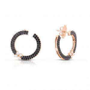Roberto Coin Love in Verona Black Diamond Flower Earrings