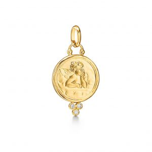 Temple St. Clair Angle Charm in Yellow Gold with Diamonds