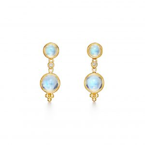 Temple St. Clair Blue Moonstone with Diamonds Double Drop Earrings