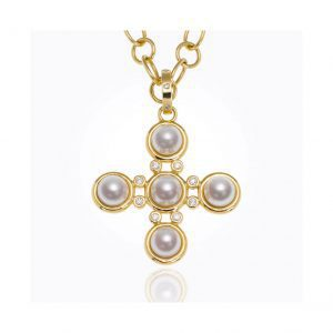 Temple St. Clair Pearl Cross in 18kt Gold with Diamonds