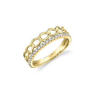 Yellow gold double ring, link and diamond ring