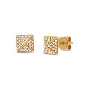 Pave Diamond Pyramid Stud Earrings in Yellow Gold