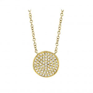 Pave Diamond Circle Pendant Necklace in yellow gold