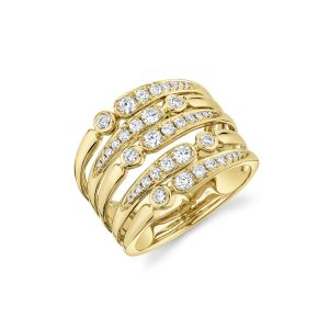 Five Row Open Diamond Ring in Yellow Gold