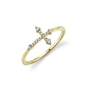 Yellow gold Diamond Cross Ring