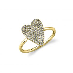 Pave Diamond Heart Ring in Yellow Gold