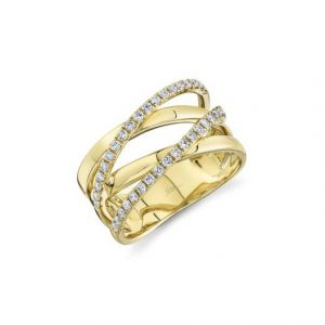 Diamond Bridge Ring in Yellow Gold