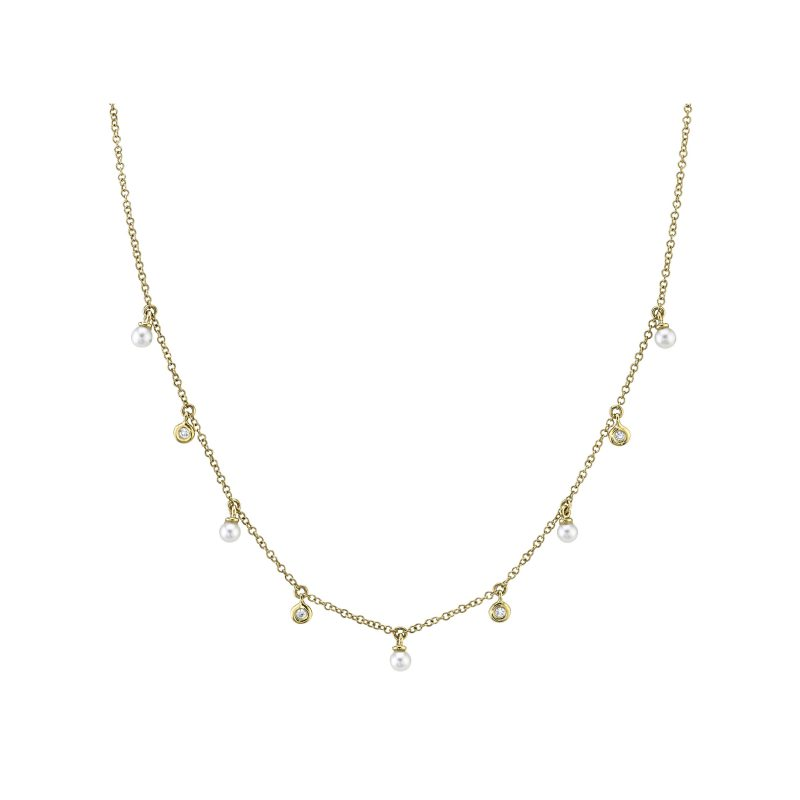 Diamond & Cultured Pearl Necklace in yellow gold