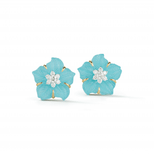 Seaman Schepps Clematis Earrings in Turquoise & Diamond