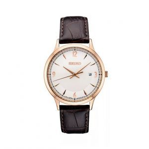 Front view of Seiko 40.4mm Brown Leather Essentials Watch
