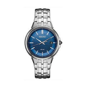 Front view of Men's Blue face Seiko Essentials Watch