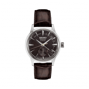 Front view of Seiko 40.5mm Presage Brown Leather Watch