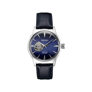 Front view of Seiko 40.5mm Blue Presage Watch