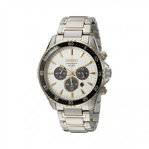 Front view of men's Seiko solar chronograph essential watch.