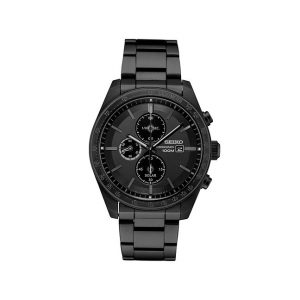 Front view of Seiko 42mm Black Solar Chronograph Watch