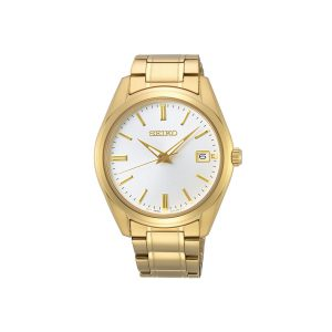 Front view of mens seiko watch in gold plate, analog dial watch.