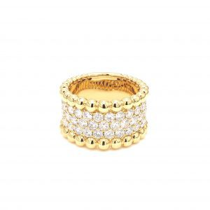 Three Row Diamond Ring with Beaded Edges in yellow gold