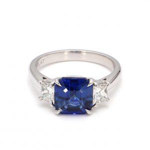 3.19ct Blue Sapphire and Diamond Ring