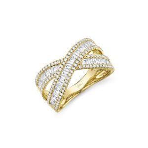 Diamond Baguette Cut Crossover Ring