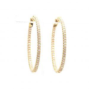 1.19ct Diamond Inside Outside Hoop Earrings in yellow gold