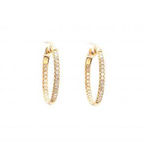 0.50ct Diamond Inside Outside Hoop Earrings in yellow gold