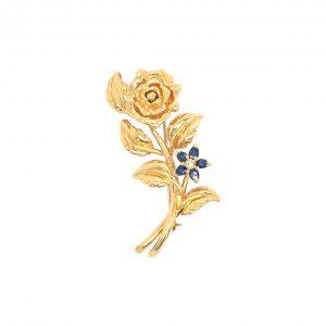 Bailey's Estate Mid Century Sapphire and Diamond Flower Pin