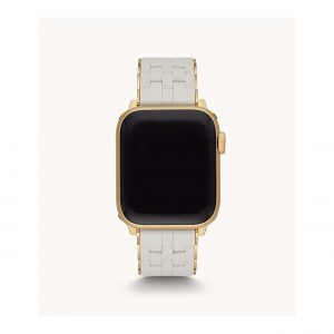 Michele White Silicone and Yellow Gold Plate Apple Watch Bracelet