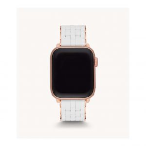 Michele White Silicone and Rose Gold Plate Apple Watch Bracelet