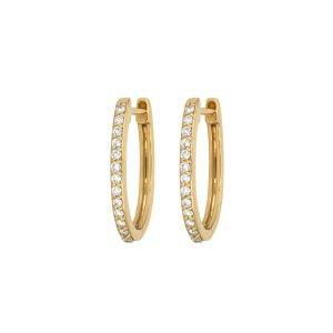 Three Stories Jewelry Classic Small Oval Pave Diamond Hoop Earrings