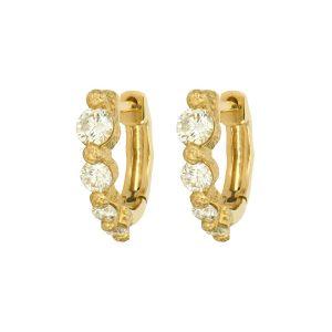 Three Stories Jewelry Timeless Small Graduated Diamond Hoop Earrings